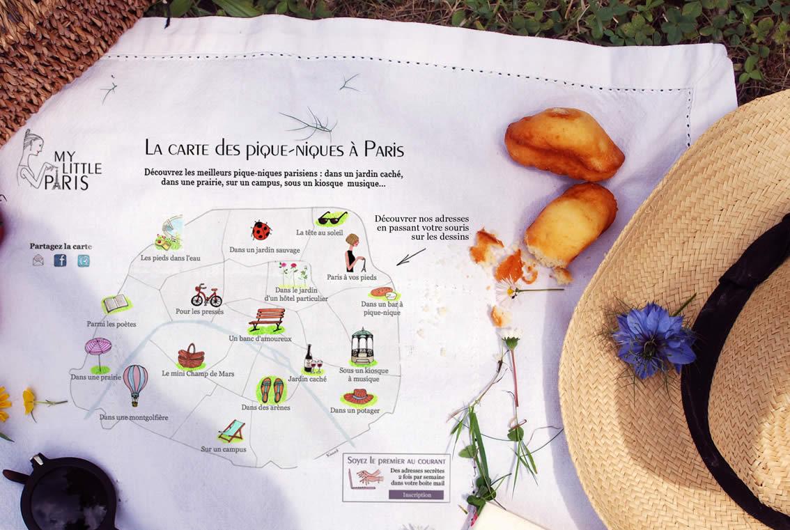 Carte des meilleurs pique-niques de Paris
