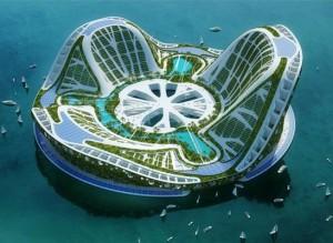 Projet Lilypad par l'architecte Vincent Callebaut : cité flottante écologique et autosuffisante.